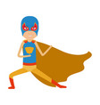 colorful silhouette with kid superhero in vector image
