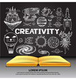 creativity on openned book vector image vector image