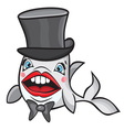 Cute cartoon fish with hat vector image vector image