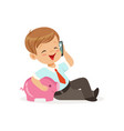 cute little boy businessman talking on smartphone vector image vector image
