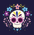 day dead sugar skeleton flowers character vector image