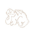 dino sleep monochrome prehistoric hand drawn illus vector image vector image