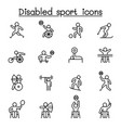 disabled sport icons set in thin line style vector image vector image
