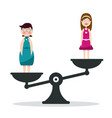fat and slim woman on scales girls on scale vector image