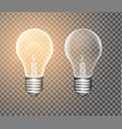 figure of a luminous light bulb on a transparent vector image vector image
