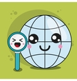 global and lupe icon Kawaii and technology vector image vector image