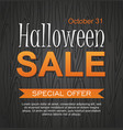 hallowen sale banner on wooden background vector image vector image
