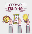 hand with money to crowdfunding business finance vector image vector image