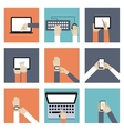 Hands Holding Digital Devices vector image