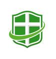 healthy life modern shield symbol logo design vector image vector image