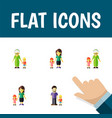 icon flat relatives set of grandma son mother vector image