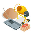 isometric construction tools and materials vector image