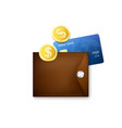 leather brown wallet with credit cards and gold vector image