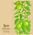 lime branches pattern on color background vector image vector image
