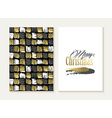 Merry christmas card set pattern gold indian shape vector image vector image