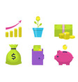 money flat icons set vector image vector image