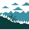 mountain bike ascending silhouette landscape vector image