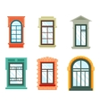 Old window frames view isolated house wall vector image vector image
