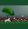 paper art concept of nature dog catching butterfly vector image vector image