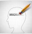 pencil erases the word migraine in the human head vector image vector image