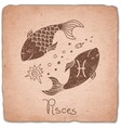 Pisces zodiac sign horoscope vintage card vector image vector image