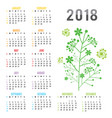 planner calendar new year 2018 flower vector image vector image