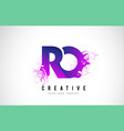 ro r o purple letter logo design with liquid vector image vector image