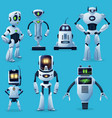 robot characters cartoon toys and future cyborgs vector image