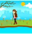 sad lonely girl spring season scene graphic design vector image
