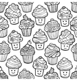 Seamless pattern with cute smiling cupcakes on vector image vector image
