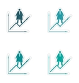 Set of stylish sticker on paper man economic vector image vector image