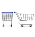 shopping trolley top and side view empty cart vector image