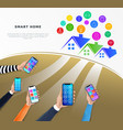 smart home control technology concept iot or vector image vector image
