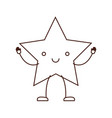 star kawaii caricature in brown color contour vector image