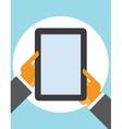 tablet computer in user hands vector image