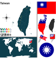 Taiwan map world vector image vector image
