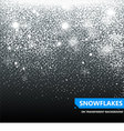 The falling snow on a transparent background vector image
