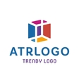 trendy logos in an abstract color cube box vector image