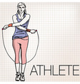 woman training with jump rope vector image vector image