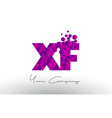 xf x f dots letter logo with purple bubbles vector image vector image
