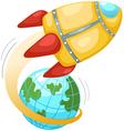 Rocket and earth globe vector image