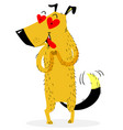 A dog in love exalted dog who saw the object of