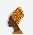 african woman in head scarf and earrings in vector image