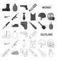 Army and armament monochrom icons in set
