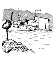 black and white sketch drawing of Budva Montenegro vector image vector image