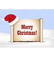 Blank paper with Santa Hat on a winter christmas vector image vector image