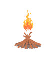 burning bonfire with wood cartoon vector image vector image