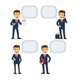 Businessman with speech bubbles vector image