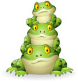 cartoon frog stacked isolated on white background vector image vector image