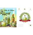 cartoon healthy olive composition vector image vector image